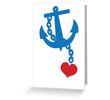 NAVY blue anchor with a love heart Greeting Card