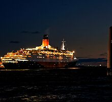 Night Over The QE2 by Steven  Agius