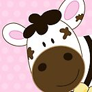 Cute Happy Cow -  Pink Dot by JessDesigns