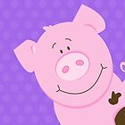 Cute Happy Pig - Purple by JessDesigns
