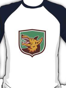 Angry Wild Dog Fangs Side Shield Retro T-Shirt
