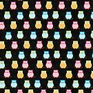 Trendy Multi-Color Owls on a Branch - Black by JessDesigns