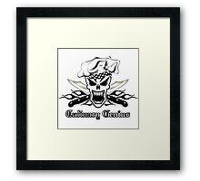 Chef Skull 2.2: Culinary Genius 3 black flames Framed Print