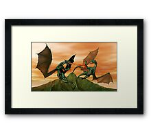 Fighting Dragons Framed Print
