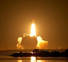 Shuttle Endeavor Night Launch. by Mark Weaver