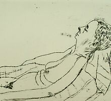 Fara monoprint - lying back by donnamalone