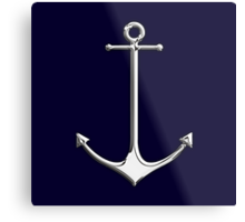 Chrome Style Nautical Thin Anchor Applique Metal Print