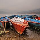 Pokhara boats. by Michael Edelstein