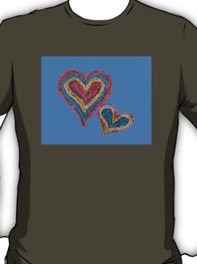 Two vivid color shape hearts close one to each other T-Shirt