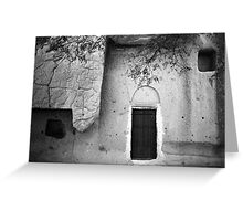 Cappadocian Cave Door (Black And White) Greeting Card