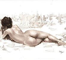 reclining nude back view by Alleycatsgarden