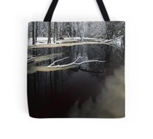 Winter landscape with river Tote Bag