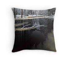 Winter landscape with river Throw Pillow