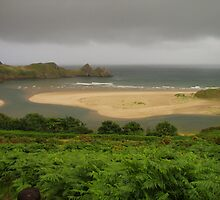 Three Cliffs Bay, The Gower, High Tide by elmar rubio