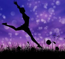 Silhouette of a girl jumping on the meadow 2 by AnnArtshock