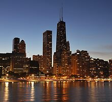 Chicago Skyline at dusk by mvpaskvan
