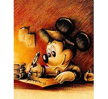 Mickey Mouse Drawing - Disney Photographic Print