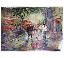 Red London Buses & Phone Boxes - Painting Poster