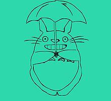 Totoro and his umbrella by TheCakeIsOkay