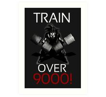 Train over 9000-BW White Letters Art Print