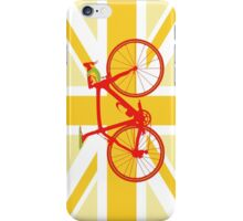 Bike Flag United Kingdom (Yellow) (Big - Highlight) iPhone Case/Skin