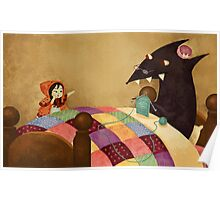 Little Red and the wolf in Grandma's house. Poster