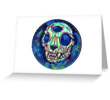 psychedelic psychic cat skull Greeting Card