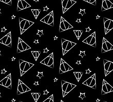 White on Black Deathly Hallows and Stars Pattern by steffirae