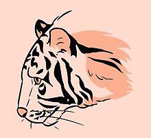 Tiger #1 (Coral) by heatherdraws