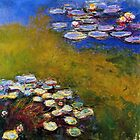 1917 Waterlily oil on canvas. Claude Monet. Vintage floral fine art. by naturematters