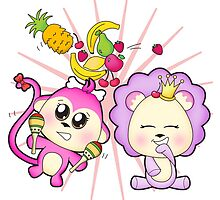 Cute baby zoo animal monkey playing maracas and dancing with lion friend by Tee Brain Creative