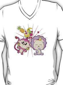 Cute baby zoo animal monkey playing maracas and dancing with lion friend T-Shirt