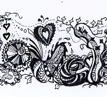 Zentangle I Love You Black & White by Heather Holland by Heatherian