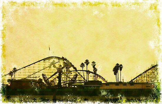 Big Dipper, Santa Cruz Beach Boardwalk, California by Karin  Hildebrand Lau