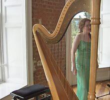 Celtic Harpist & her Harp by Riihele