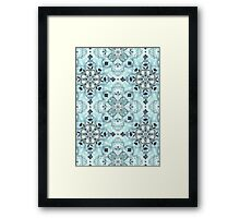 Soft Mint & Teal Detailed Lace Doodle Pattern Framed Print