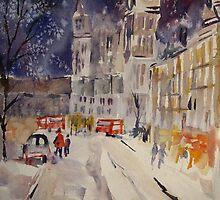 Clock Tower At Night - Street Scenes Art Gallery by Ballet Dance-Artist