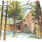 Cabin in the woods watercolor by Mike Theuer