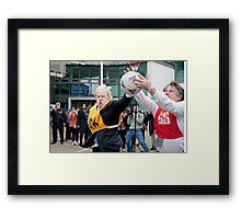 Boris Johnson plays netball Framed Print