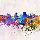 Anchorage skyline in watercolor background by paulrommer