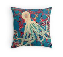 Marbling Paper Octopus Blob by Pepe Psyche Throw Pillow