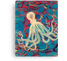 Marbling Paper Octopus Blob by Pepe Psyche Canvas Print