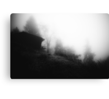 Cabin on a foggy morning Canvas Print