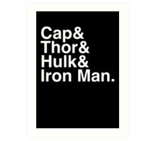 Cap & Thor & Hulk & Iron Man. (inverse) Art Print
