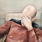 Captain Picard Facepalm Meme Watercolor by OlechkaDesign