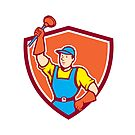 Plumber Holding Plunger Up Shield Cartoon by patrimonio