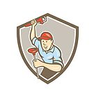 Plumber Wrench Plunger Front Shield Cartoon by patrimonio