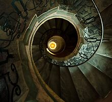Brown and yellow spiral staircase by JBlaminsky