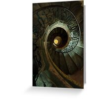 Brown and yellow spiral staircase Greeting Card