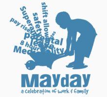 MayDay 2008: a celebration of work and family - Cyan print by unionswa